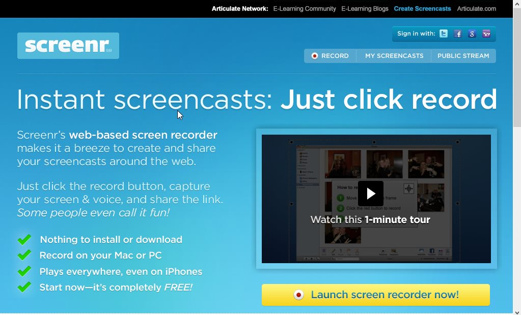 Сервис Screenr для записи видео с экрана