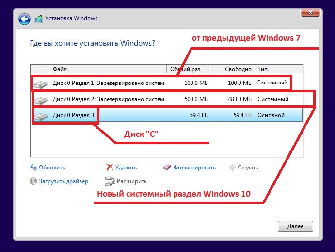 Создание системного диска при установке Windows 10