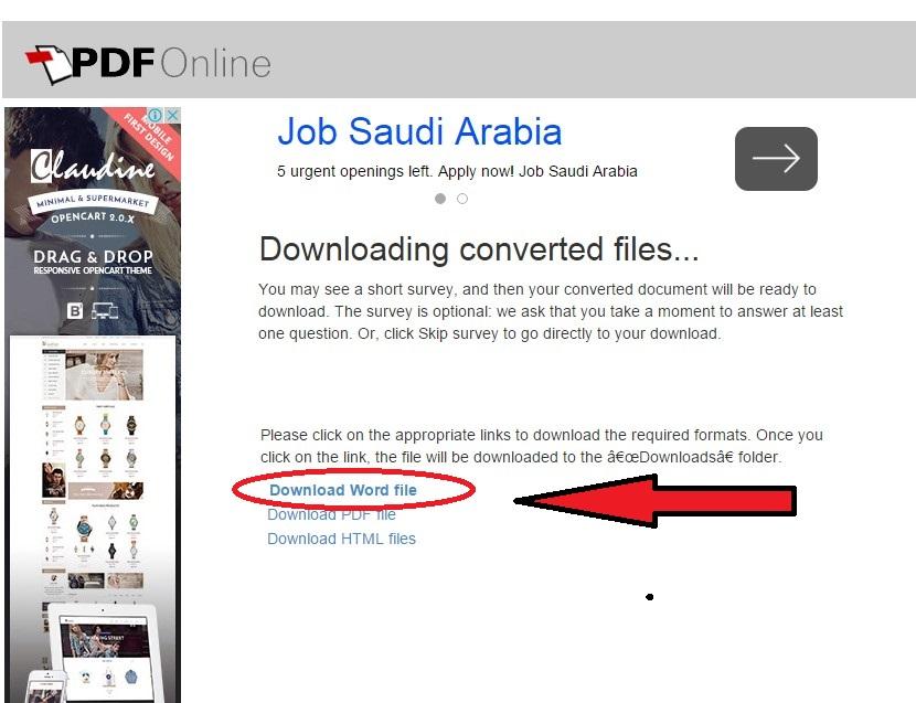 Скачивание сконвертированного Word с Google Docs