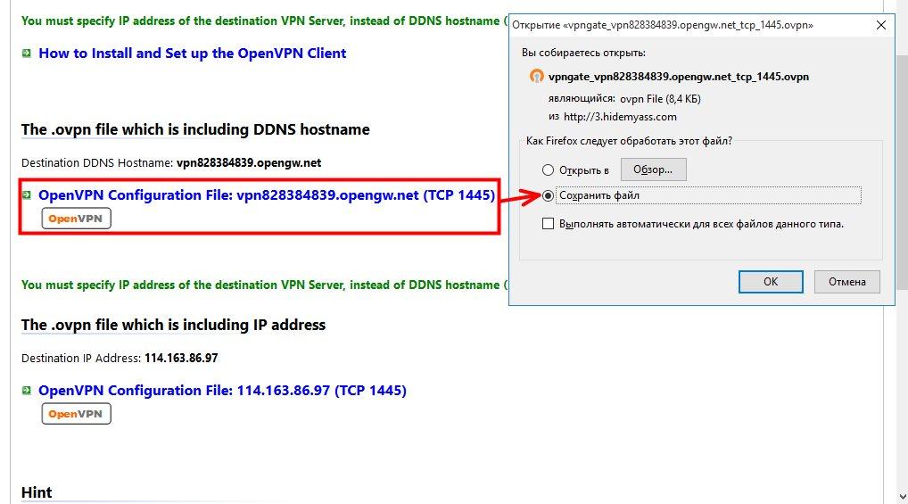 Конфигурационный файл для программы OpenVPN