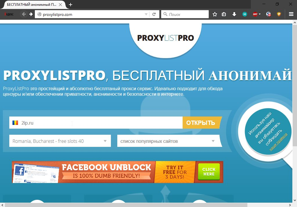 Страница анонимайзера proxylistpro