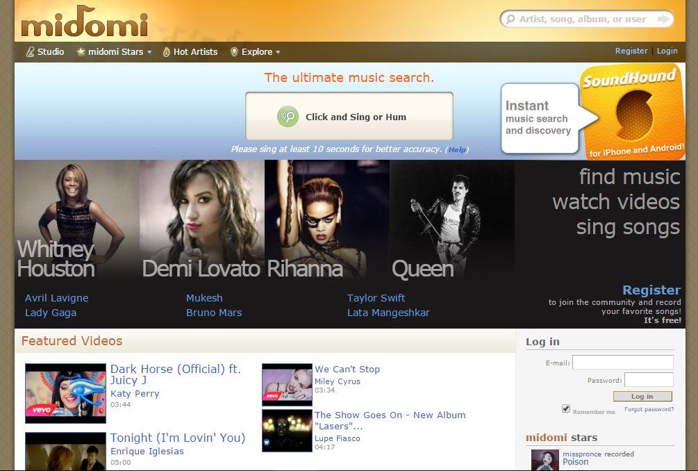 Ресурс midomi.com распознования исполнителя по мелодии