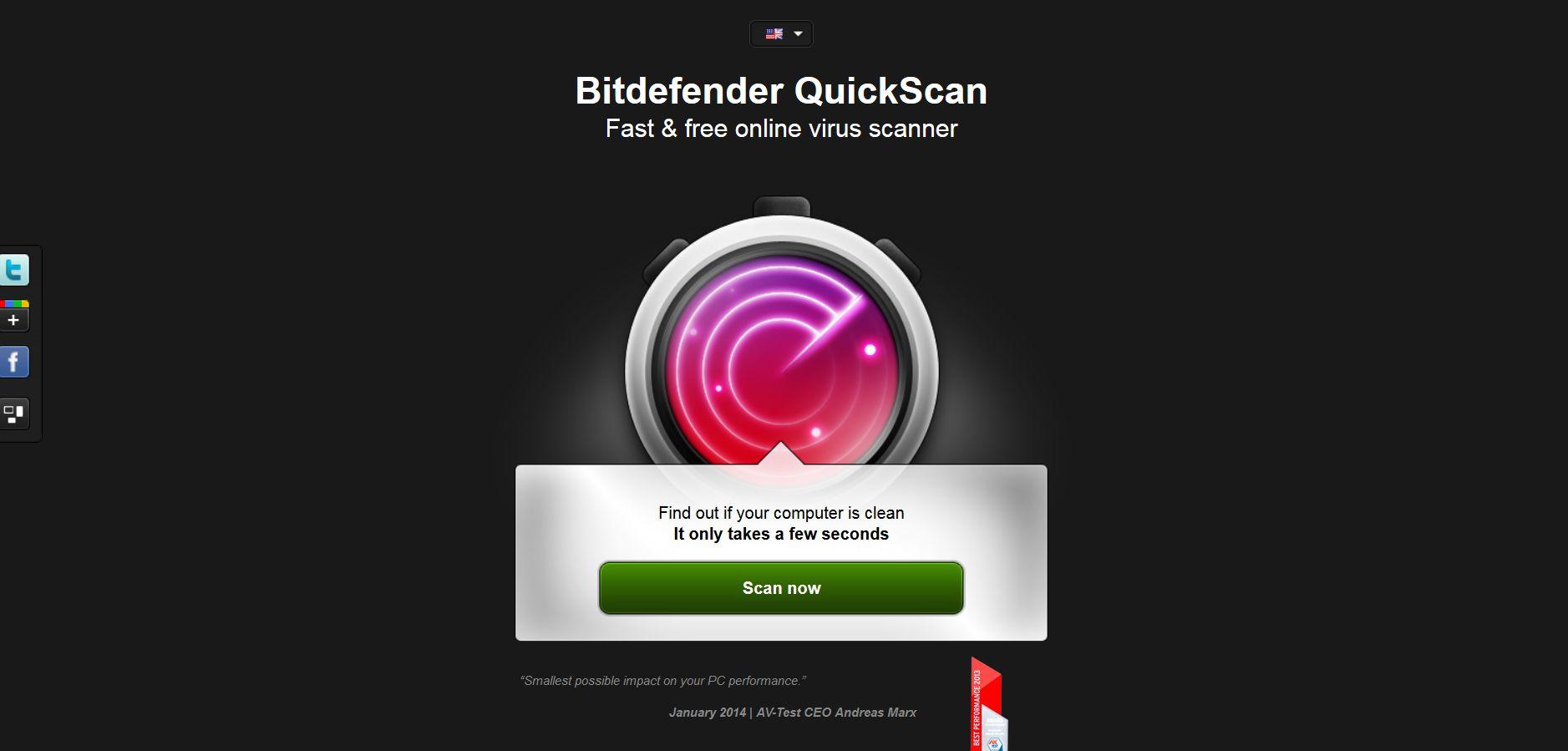 Bitdefender QuickScan — онлайн сканер