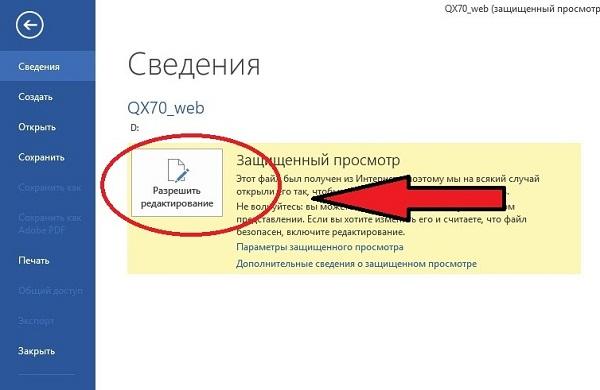 Открытие защищенного документа PDF