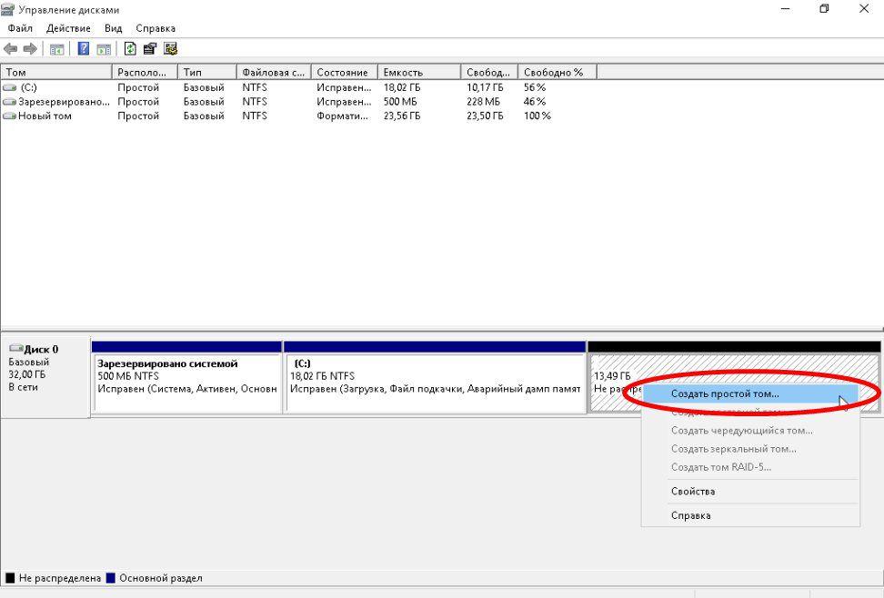 Создание нового тома в консоле управление дисками windows